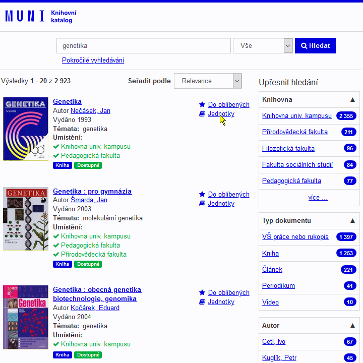 vufind - výsledky hledání